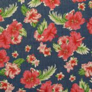 Printed Denim Red Floral - Light weight - per quarter metre